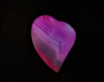 Onyx Agate Pendant Stone Pendant Pink Magenta Hot Pink Stripes Heart Gemstone Agate Pendant Bead