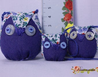 Set small owls 2 hanging or to hang and 1 key