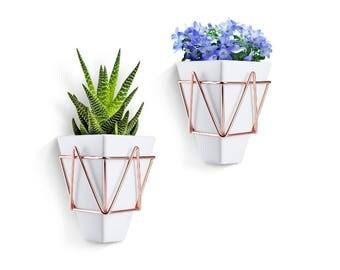 White Ceramic, Succulent Pots -Wall Mounted Planters, Small Succulent Pots, Geometric Desktop Planters, Little Cactus Pots, Succulent Garden