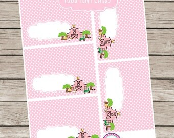 Farm Birthday Party Food Tent Cards Fold Over Dessert Buffet Labels Instant Download Pink Horse Pony Green Tractor Pink Barn 1st 2nd 3rd