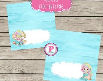 INSTANT Mermaid Spa Party Food Label Cards Food Tent Cards Rainbow Hair Birthday Instant Download Mermaid Bash Pool Splish Splash Fill In