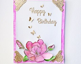 Elegant card, gold card, flower birthday card, pink and gold card, magnolia card, dimensional card, beautiful card, original card, flower