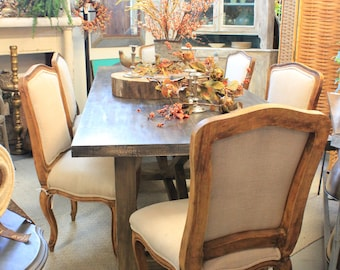 6 Linen Chairs and Refinished Farm Table
