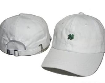 Lucky White 3 leaf clover baseball cap