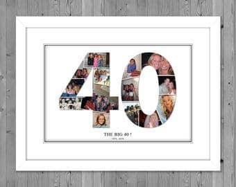40th birthday photo gift, 40th birthday inside number photo collage , 40th birthday gift ideas, 40th birthay collage