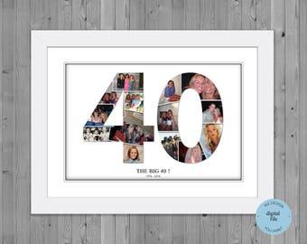 40th birthday photo gift, 40th birthday number photo collage , 40th birthday gift ideas, 40th birthday collage