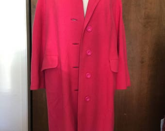 Fabulous Women's Vintage Hot Pink Wool Coat, XL