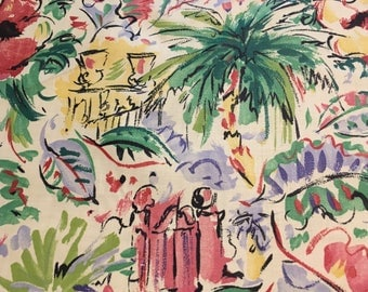 "Vintage - Cyrus Clark 1993 ""Rivoli"" festive Caribbean motif purple, red, blue, yellow, green, on lightweight cotton fabric"