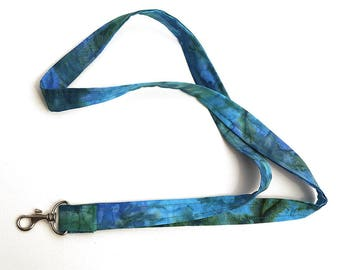 Badge ID Holder or Fabric Lanyard in Blue and Green Batik