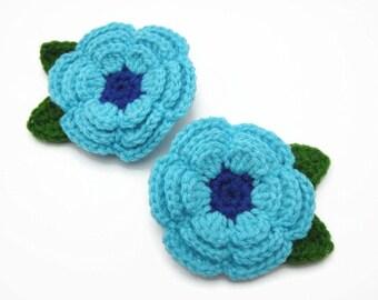 Hair Clip Flower Crochet Decorative Accessories Girl Baby Blue