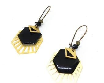 "Earrings sequin enameled ""black/gold/bronze"" chic and trendy"