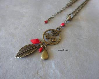 chain bronze chandelier necklace, leaf, sequin drop enamel red, diamond, ethnic, Bohemian jewelry unique