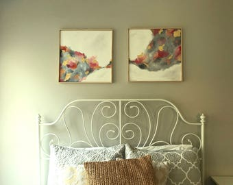 Reach Series #1 & #2: Sister Original Abstract Oil Paintings With Custom Frame
