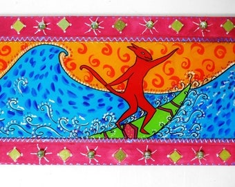 """""""surfer"""" 70 x 32 cm-table mosaic and painting on glass"""