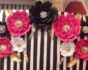 Kate Spade inspired elegant paper flower backdrop,wedding decor,bridal shower decor, home decor