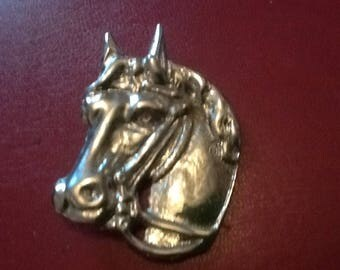 Solid Brass Under Nickle Plated Horses Head  Leathercraft Rivets