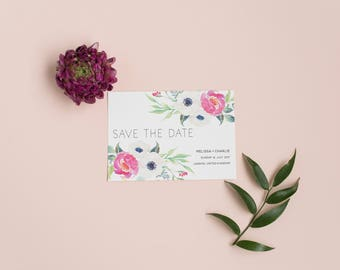 Printable Rustic Floral Save the Date card - Printable Digital PDF Template  - Spring Blooms Save the Date