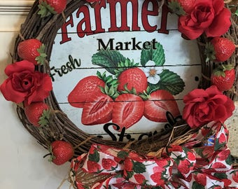 Strawberries fields forever Deco Poly Mesh Wreath