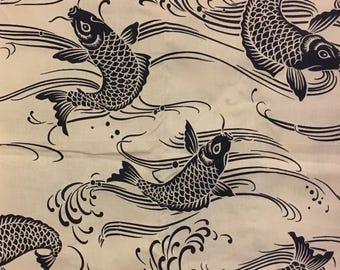 Koi fish cotton fabric