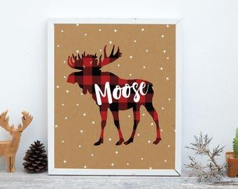 Moose Print, Nursery Animal Wall Art, Woodland Nursery Decor, Rustic Decor, Cabin Decor, Printable Poster Instant Download