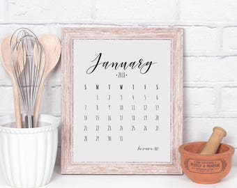 Kitchen calendar, 2018 calendar, kitchen decor, printable, black and white calendar, can be used in frame