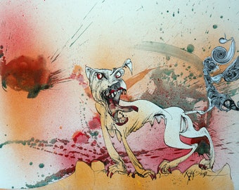 Raging Bitch Flying Dog Label Ralph Steadman Hand Signed Art Print