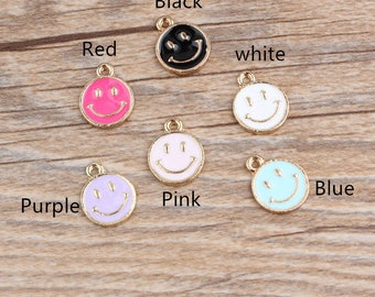 10 Pcs Lovely Smiley Face Charms,Round Smiley Face Charm Pendant,Smiley Cartoon Rounds Emoji Charm Necklace Bracelet Jewelry Making