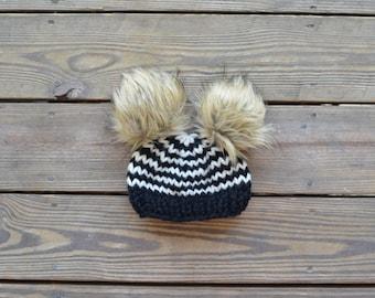 Double Pom Pom Hat, Baby Fur Pom Pom Hat, Fur Pom Pom Beanies, Double fur pom pom hat, Baby Pom Pom Beanies, Baby Pom Pom Hats,