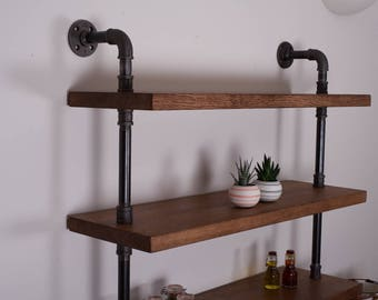 Vintage Industrial Pipe Shelving Unit - Solid Oak Shelves - Iron Pipe - Bookcase
