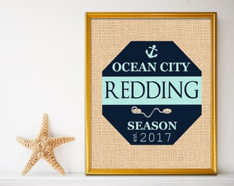 Personalized Beach House Sign - Beach House Gifts - Beach House Decor - Beach Tag - Jersey Shore Art - Navy - Green - 8 x 10 - Name Sign
