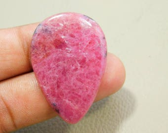 40%OFF Natural Pink oRhodonite Cabochon Loose Gemstone 27x40 MM Approx Pear Shape 61.00 Cts For Making Jewelry