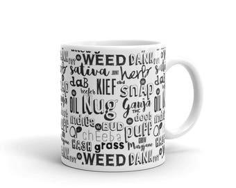Cannabis word collage Nug Pot Vape Herb Dab funny Marijuana Colorado Coffee Mug