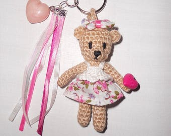 """Jewelry bag: """"little beige bear wearing a pink and white summer dress"""""""