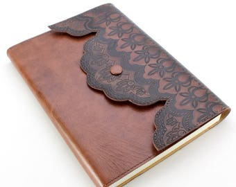 "Leather Journal - ""Merletto"" by Fortessa 