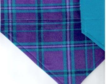 Purple/Teal Plaid Flannel Bandana   Dog Bandana   Puppy Bandana   Over the Collar Dog Bandanas   Custom Dog Bandana