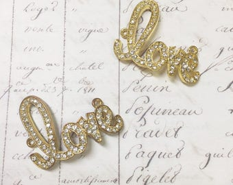 2pc LOVE connector with rhinestones, Gold-plated