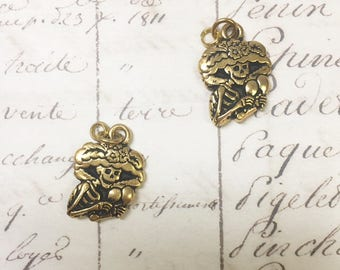 Antiqued Gold Sugar Skull charm, 3pcs