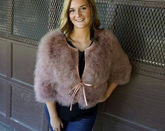 Marabou Feather Jacket w/cinch Belt - G81