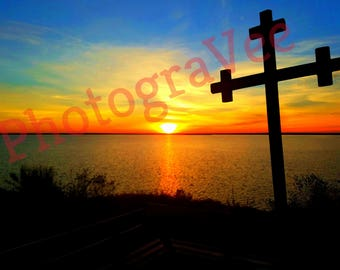 Cross sunrise canvas wall art wall decor