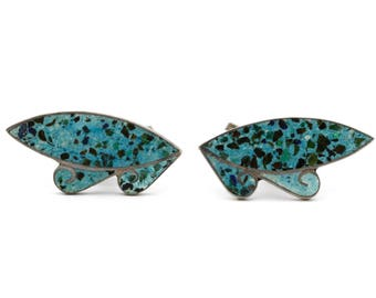 Turquoise Inlay Mexican Earrings, Antique 1940s Signed Jewelry, 925 Sterling Silver, Southwestern Earrings, Stone Inlay Screw Back Earrings