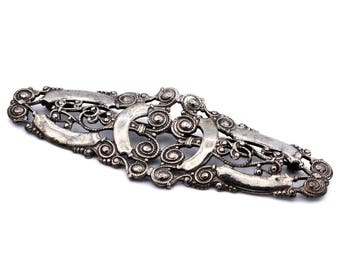 Antique 1910s Filigree Brooch, 925 Sterling Silver, Old Large Brooch, Victorian Edwardian Jewelry, Scroll Design Bar Brooch, Lace Metal Work