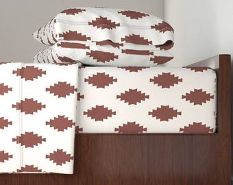Southwestern Sheet Set - Taos Tile Marsala Light by Holli_zollinger - Boho Langshan Sheet Set by Roostery with Spoonflower Fabrics