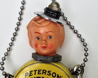 Assemblage Art, Steampunk Boy, Vintage Doll Head, Advertising Tin Body, Tool Arms, Hanging Metal Art, JUNK and Treasures