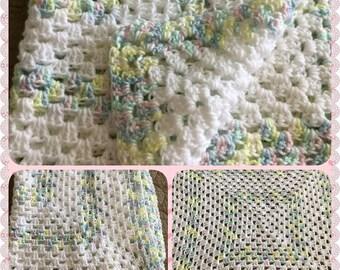 Beautiful Unisex Crochet'd  Baby Blanket, Baby Shower Gift, Coming Home Baby Blanket