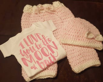 I Love You To The Moon and Back, Baby Girl Outfit,  Onesie with Crocheted Pants and Bow Crocheted Cap - Super Adorable!