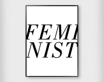 Feminist Print   Typography   White - Black   Woman - Girl Power - Poster