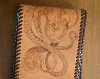 One of a kind Leather Wallet with Octopus Design Gift