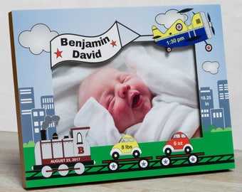 Personalized Baby Picture Frame, Baby Boy Picture Frame, New Baby Boy Frame, Baby Boy Frames, Baby Boy Birth Frames, Cars, Planes and Trains