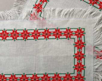 2 Vintage rectangular Christmas doilies or placemats