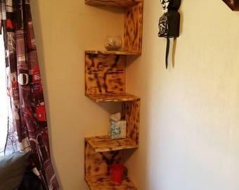 Corner shelving unit,  rustic bookcase